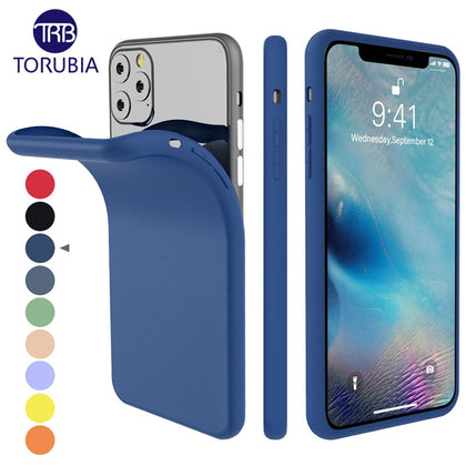 For iPhone 11 11 Pro Max 2019 Case Silicone Original Candy Color Built-in Velvet Slim Matte Soft TPU Cover For iPhone 11 XI Case