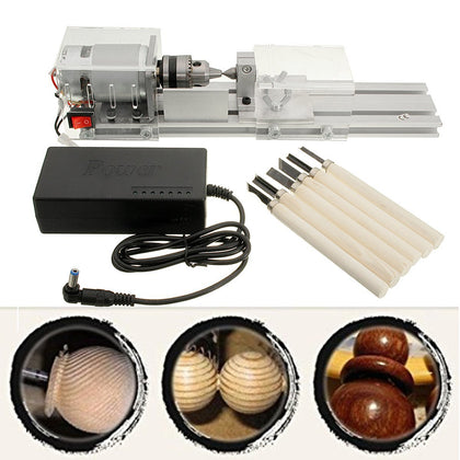 DC 24-36V 96W Mini Lathe Beads Machine Woodworking DIY Lathe Standard Set Buddha Beads Polishing Cutting Drill Rotary 110-220V