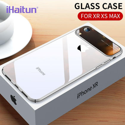 iHaitun Luxury Lens Glass Case For iPhone XS MAX XR Cases Ultra Thin PC Transparent Back Glass Cover For iPhone X XS 10 7 8 Plus