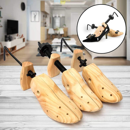 Unisex 1 Piece Shoe Stretcher Wooden Shoes Tree Shaper Rack,Wood Adjustable Flats Pumps Boots Expander Trees Size S/M/L