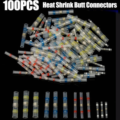 Top Selling 100Pcs Tinned Brass 100 x Solder Seal Heat Shrink Butt Wire Connector Terminal Waterproof 4 Sizes