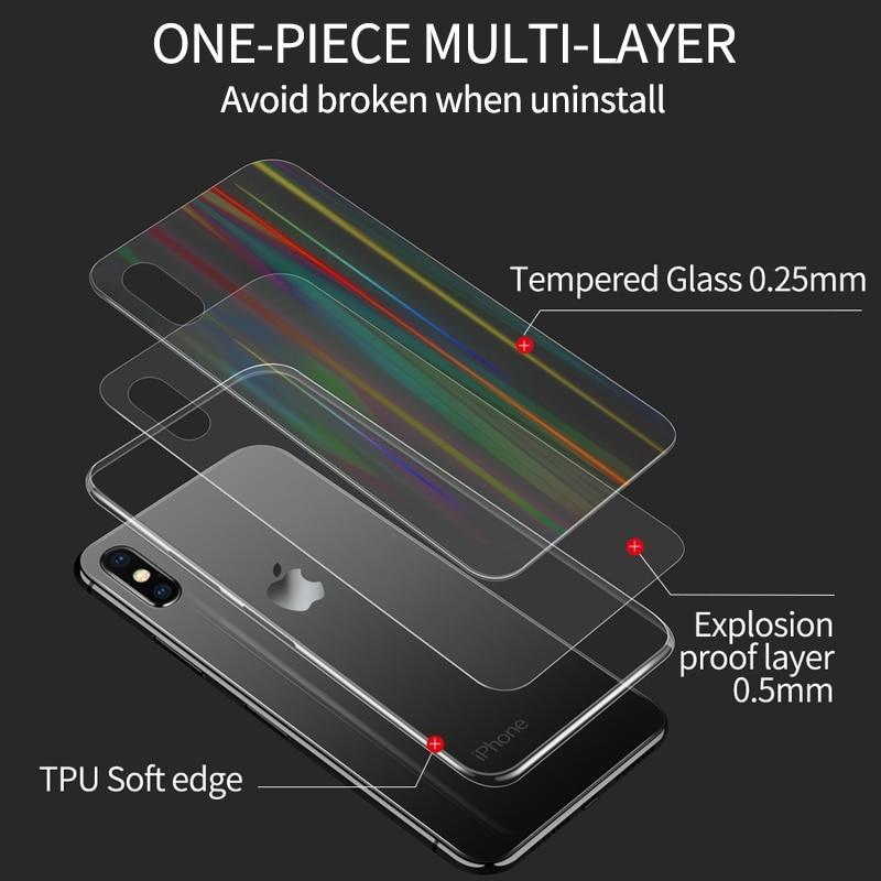 Ihaitun Luxury Laser Glass Case For Iphone Xs Max Xr X Cases Ultra Thin Transparent Back Glass Cover For Iphone Xs Max Soft Edge