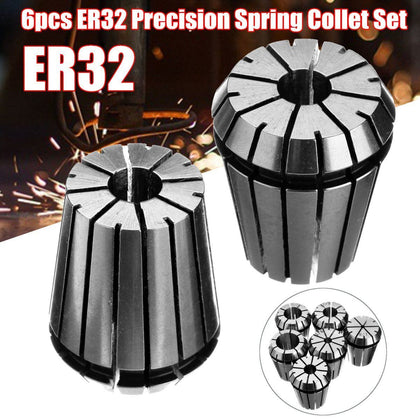 6pcs ER32 Spring Collet Set Chuck CNC Mill Lathe Tool 1/2 1/4 3/4 1/8 3/8 5/8 for Spindle Motor Milling/Boring/Drilling