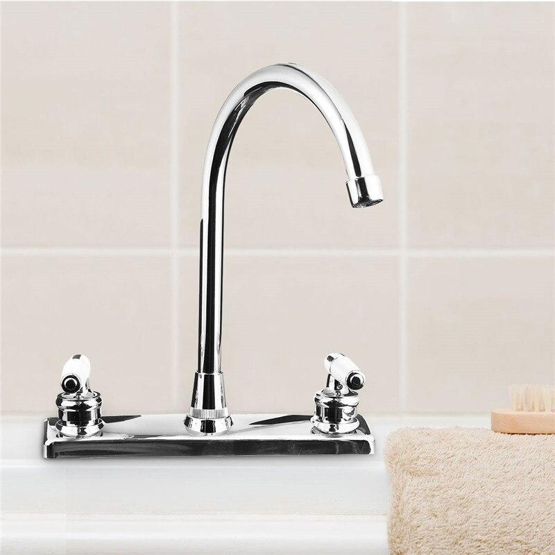 Xueqin Silver Rv Double Handle Double Basin Kitchen Faucet Tap Single Hole Water Tap For Torneira Cozinha Cold And Hot Mixer Tap
