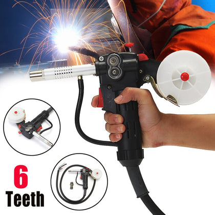 Toothed 6 Feet MIG Welding Spool Gun Push Pull Feeder Aluminum Steel Welding Torch +2m Wire Cable