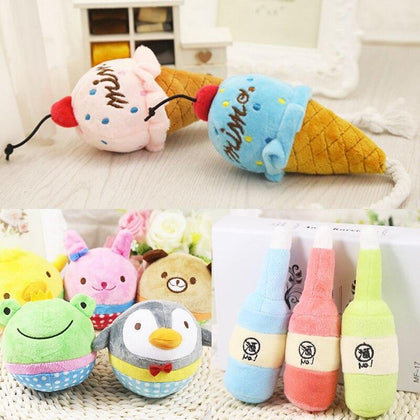 1PC Play Funny Soft Cute Sound Plush Ice Cream Squeaker Cartoon Animals For Dog Plush Toys Pet Puppy Chew Toy Bottle