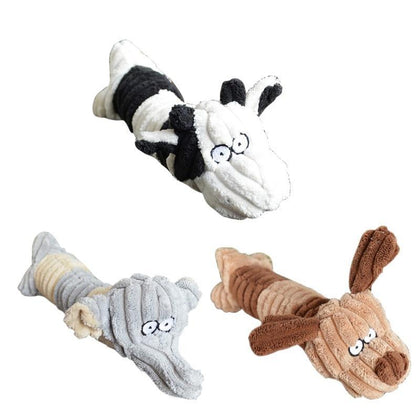 Pet Chew Toy Dogs Shape Pet Dog Cat Biting Chew Bite Funny Plush Sound Squeak Pets Supplies Dog Toy  New