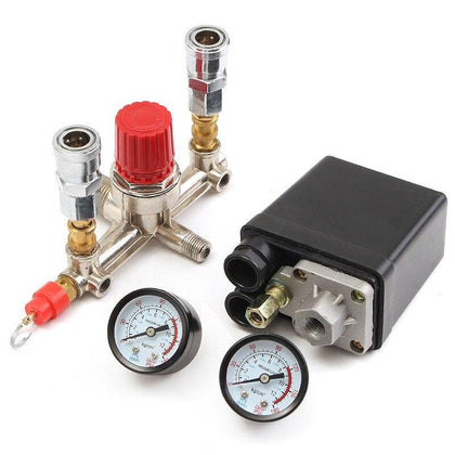 Air Compressor Pressure Valve Switch Manifold Relief Regulator Gauges 90~120 PSI 240V 17x15.5x19 cm Popular