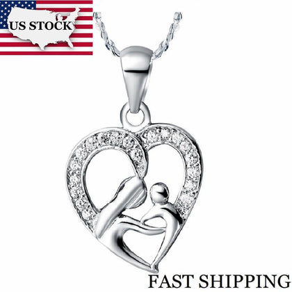US STOCK Uloveido 10% Off Mothers Day Gifts for Mom Silver Color Necklace Fashion Necklace Pendant for Women Girls N595