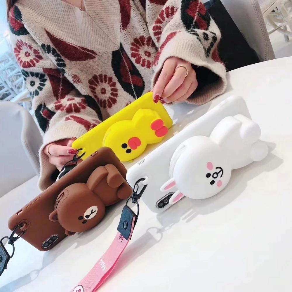 Cute Cartoon 3D Bear Wallet Phone Case For Iphone X Xr Xs Max 7 8 Plus Soft Silicone Cover For Iphone 8 7 6 6S Plus Back Capa