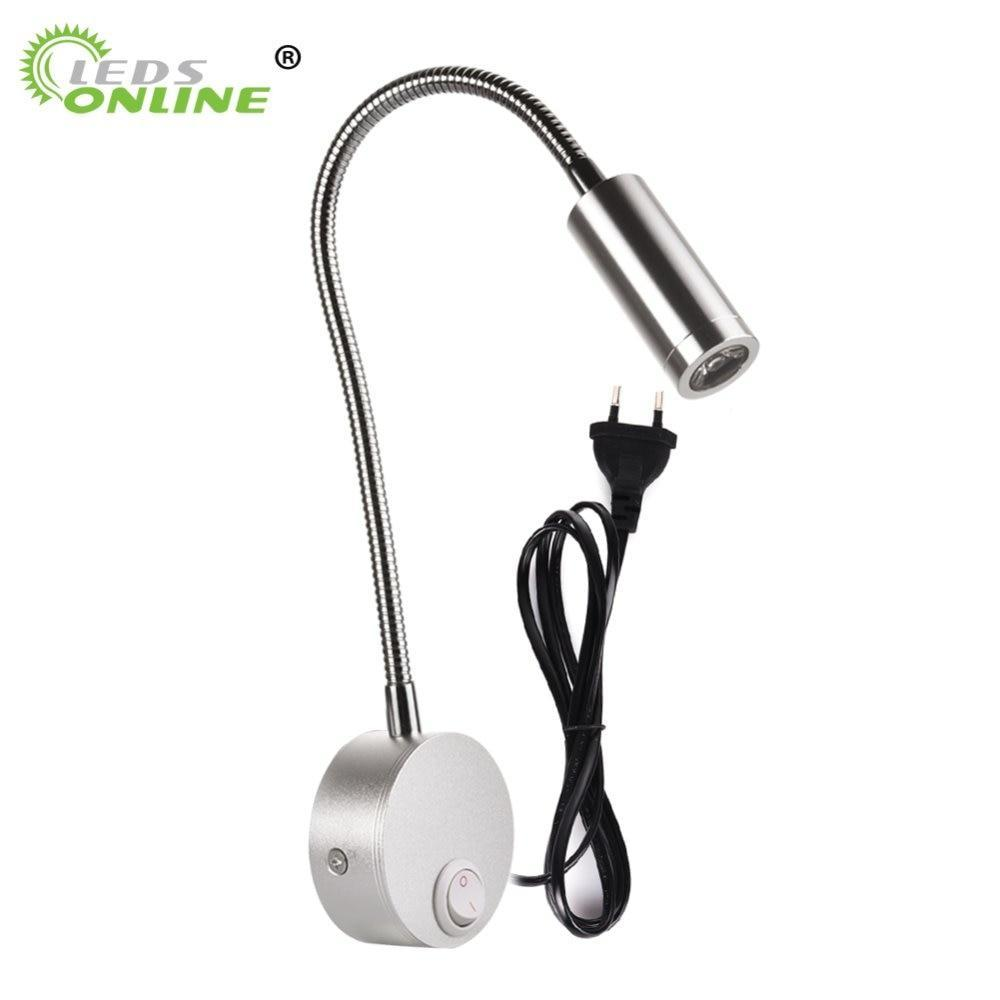 3W Led Wall Lamps With Knob Switch Modern Bedroom Bedside Reading Lighting 360 Degree Angle Adjustable Ac90-260V