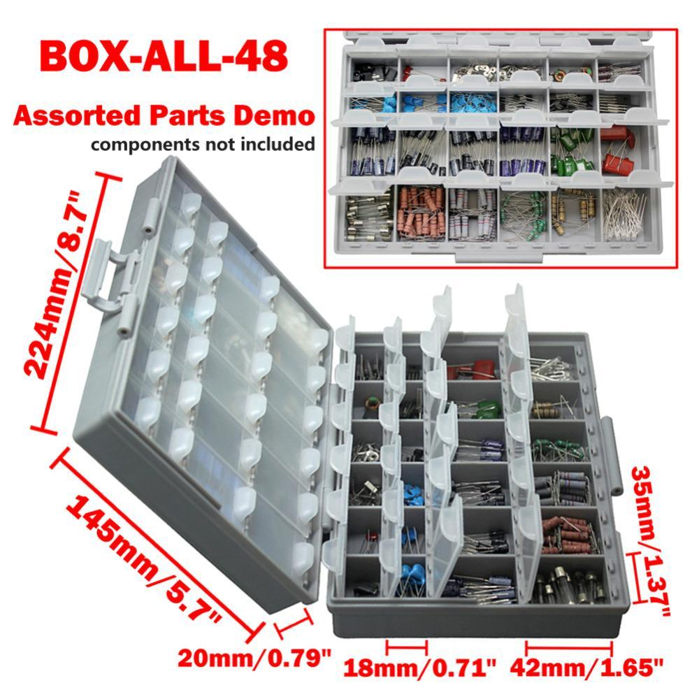 Aidetek Box Organizer Craft Beads Storage Lids Empty Enclosure Smd Smt Organizer Surface Mount Plastic Toolbox Label 2Boxall48 (2 pieces)