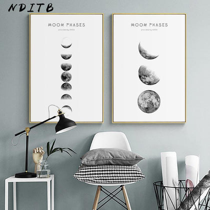 Moon Phase Canvas Posters and Prints Minimalist Luna Wall Art Abstract Painting Nordic Decoration Pictures Modern Home Decor