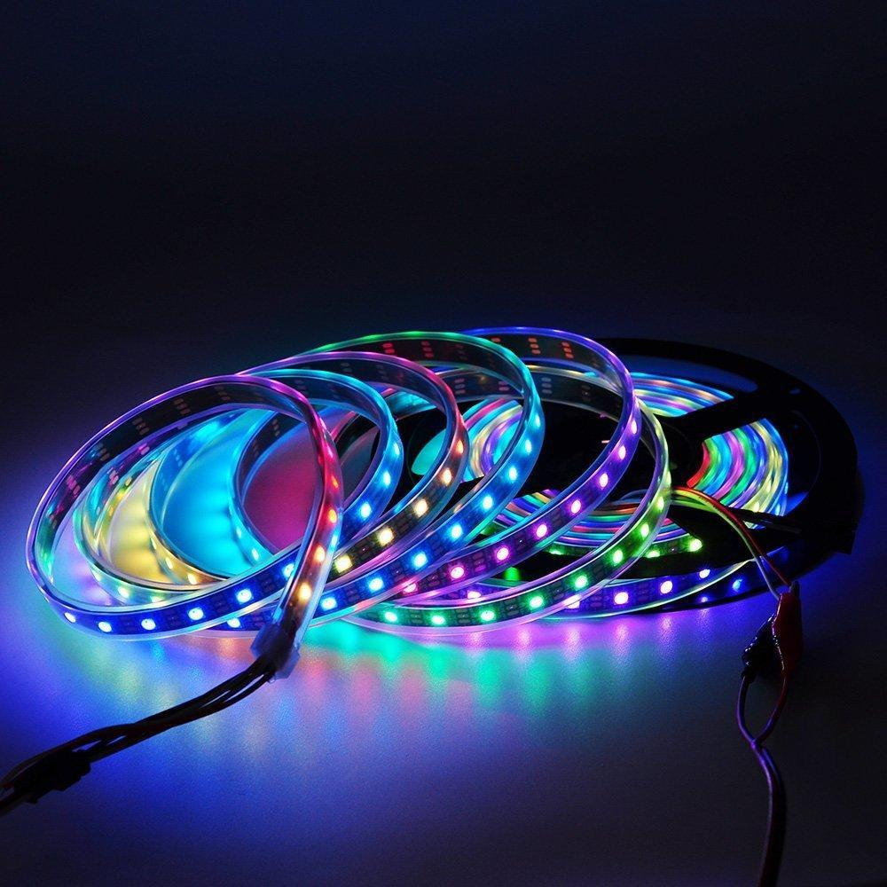 5M 5V Ws2812B Ws2812 Led Strip Light Individually Addressable Smart Rgb Led Pixel Strips Black/White Pcb Waterproof Ip30/65/67