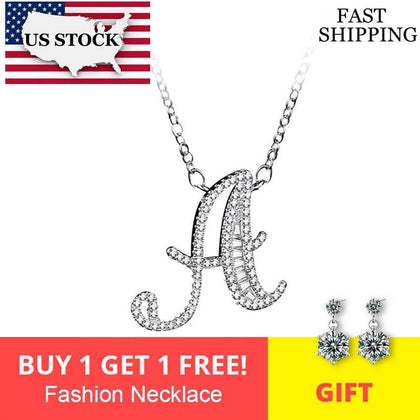 US STOCKUloveido Necklace Pendant Letter A B C D E F G H I J K L M N O P Q R S T U V W X Y Z Silver Color Zirconia Jewelry NL025