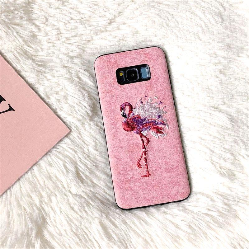 Dchziuan Phone Case For Samsung Galaxy S8 S8Plus S9 S9 Plus Note 8 9 S10 Plus Case Embroidery Flamingo Pink Soft Cover Coque