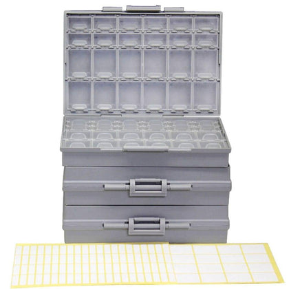 AideTek 3 unit of BOXALL48 lids empty enclosure SMD SMT organizer surface mount DE UK ship plastic part box lables 3BOXALL48