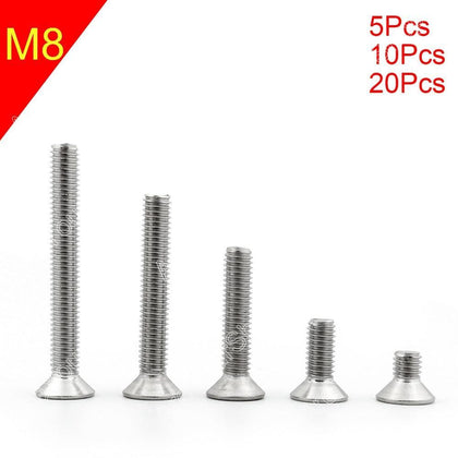 Areyourshop M8 16mm-50mm Head Screws Bolts More Sizes A2 Stainless Steel Flat Head Hex Socket Counte