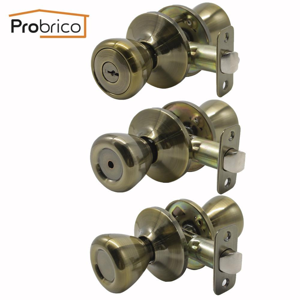 Probrico Antique Bronze Tulip Shape Door Locks Security Interior Mortic Door Handle For Bathroom Bedroom  Laundry Children'Room