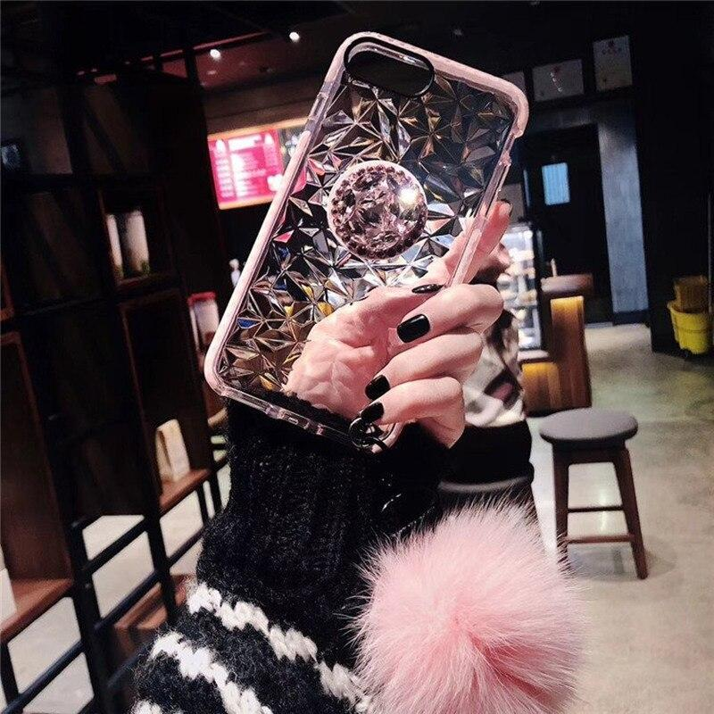 Luxury Diamond Protection Cute Hair Ball Lanyard Bracket Soft Case For Iphone 7 X Xr Xs Max 8 6S Plus For Samsung S10 S8 S9 Note