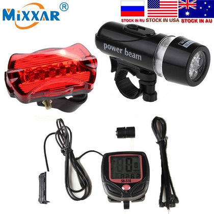 Dropshipping 5 LED Bike Cycling Light Head and Rear Lamp Light  Bicycle Speedometer Computer and Bicycle Bell Accessories Set