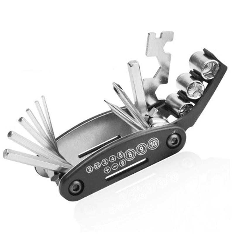 Zk50 Portable Steel Multifunction Bicycle Repair Hand Tool 16-1 Set Tools Folding Screwdriver Hexagon Wrench Cycling (16 In 1)