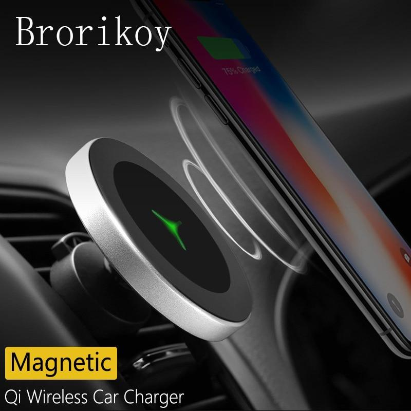 Qi Wireless Charger Car Air Vents Clip Magnetic Stand Holder Charging For Iphone X Xs 8 Samsung S8 S9 Wireless 10W Fast Charger
