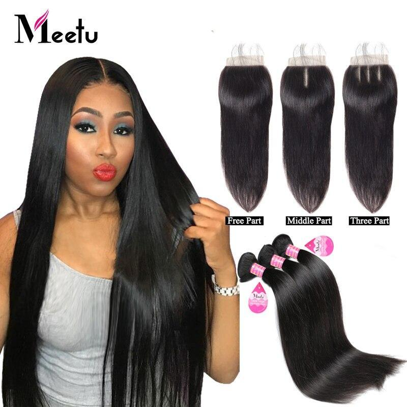 Meetu Brazilian Straight Hair Bundles With Closure 100% Human Hair Bundles With Closure 3 Bundles With Lace Closure 4X4 Non Remy