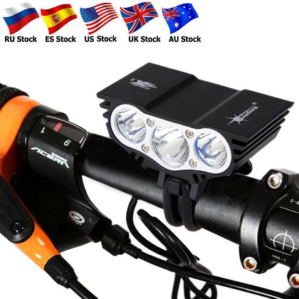 Waterproof Bike Light 3xT6 LED Front Bicycle Headlight 4 Modes Safety Night Cycling Lamp+Rechargeable Battery Pack+Charger