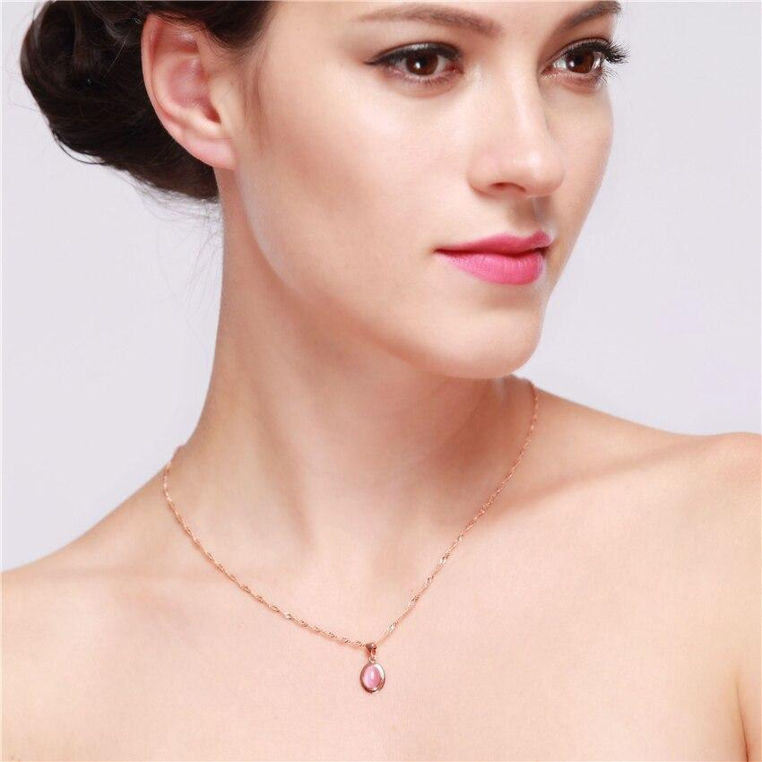 Us Stock Necklaces Pendants Choker Silver Rose Gold Color Long Crystal Pendant Necklace Fashion Jewelry Uloveido Dn02 (Rose Gold Color Pink)
