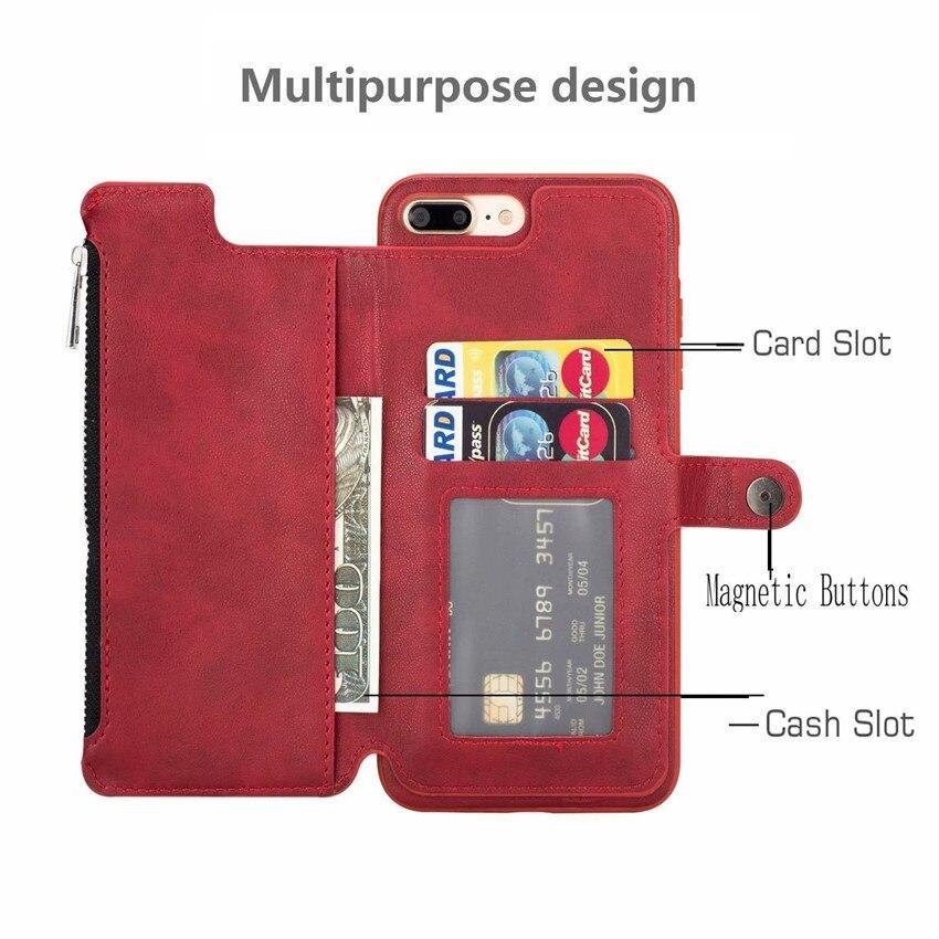 Pu Leather Zipper Case For Iphone 8 Plus 7 6 S Plus X(10) Wallet Flip Stand Cover For Iphone 7 Plus Xs Max Xr Phone Cases Eemia