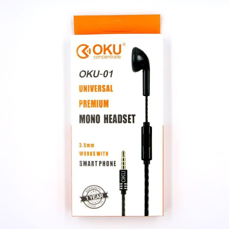 Oku-01 3.5Mm Single In-Ear Only Mono Earphone Earbud Headset W/ Mic For Phone For Samsung