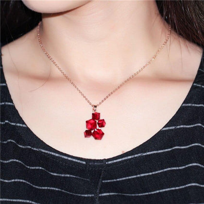 US STOCK Uloveido Geometric Necklace Pendant Rose Gold Color Women Necklace with Red Stones Punk Suspension Jewellery GR125