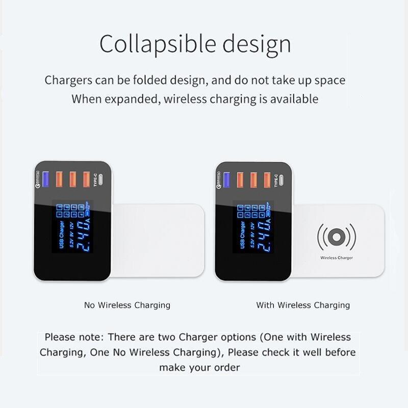 10W Qi Wiressless Fast Charger Quick Charge 3.0 Multi Usb Desktop Charger Hub Charging Station Universal Wireless Charger Pad