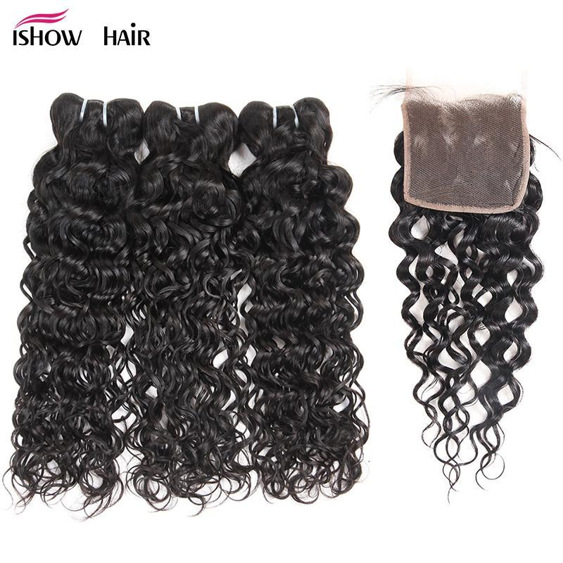 Ishow Brazilian Water Wave Bundles With Closure 100% Human Hair Weave Bundles With Closure Free Middle Three Part Non Remy Hair