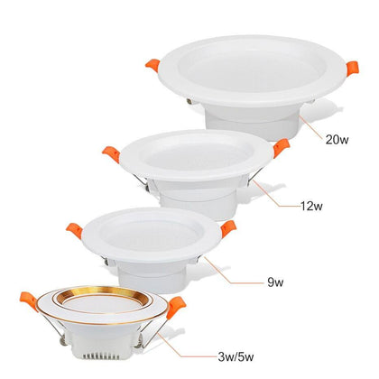 LED Downlight 3w 5w 220V LED Recessed Ceiling Spot Light 9w 12w 20w Panel Down Light Round LED Lighting Cool/ Warm White 3 Color