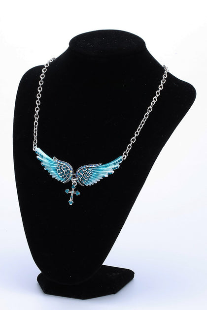 YACQ Angel Wing Cross Choker Necklace Guardian Women Biker Crystal Jewelry Gifts Her Girl Silver Color NC01 Dropshipping (18+2)