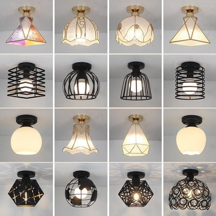 Modern Ceiling Lights LED Ceiling Lamp Vintage Plafondlamp Cage Plafonnier Crystal Lamp For Dining Room Kitchen Lampara Techo