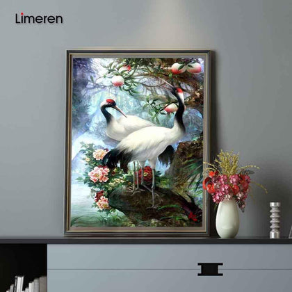 Hand painted Birds Red-crowned Crane Painting By Numbers Paint Kits Oil Painting Number Canvas Pictures Living Room Office Decor
