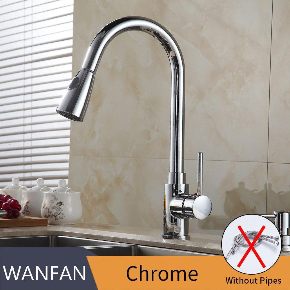 Kitchen Faucets Silver Single Handle Pull Out Kitchen Tap Single Hole Handle Swivel 2-Function Water Outlet Mixer Tap 408906