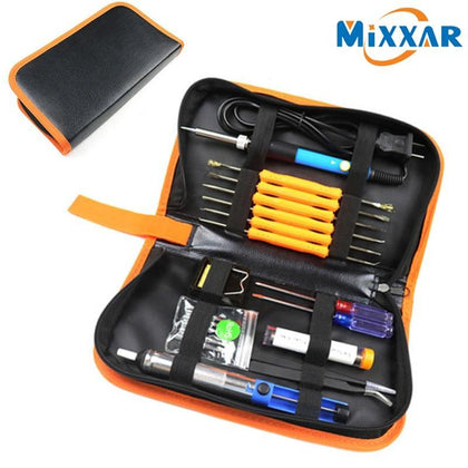 Drop ship 60W Adjustable Temperature Electric Soldering Iron Kit+5pcs Portable Welding Repair Tool Tweezers Screwdriver Knife