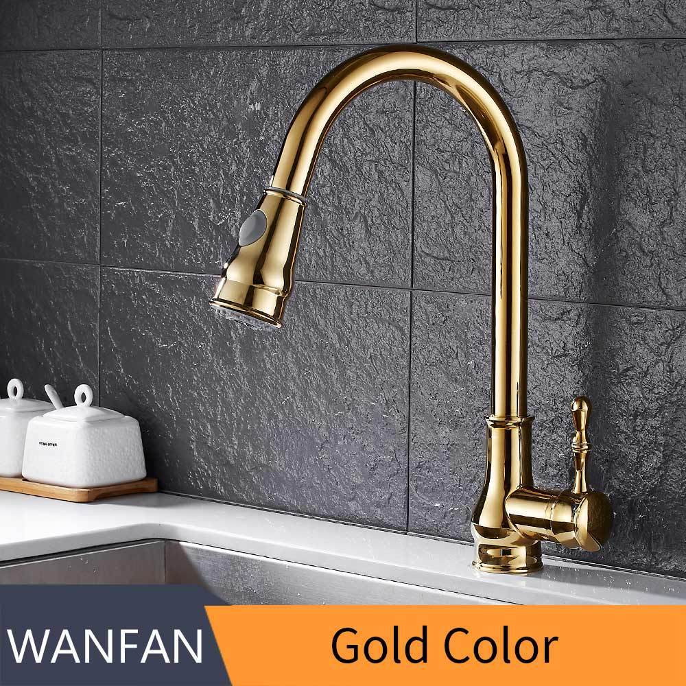 Kitchen Faucet Brass Brushed Nickel High Arch Kitchen Sink Faucet Pull Out Rotation Spray Mixer Tap Torneira Cozinha Gyd-7117