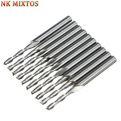 NK MIXTOS 10x 2 Flute End Mill Milling Cutter, Cutting Edge Diameter 2mm, Shank Diameter 3.175mm, Flute Length 12mm