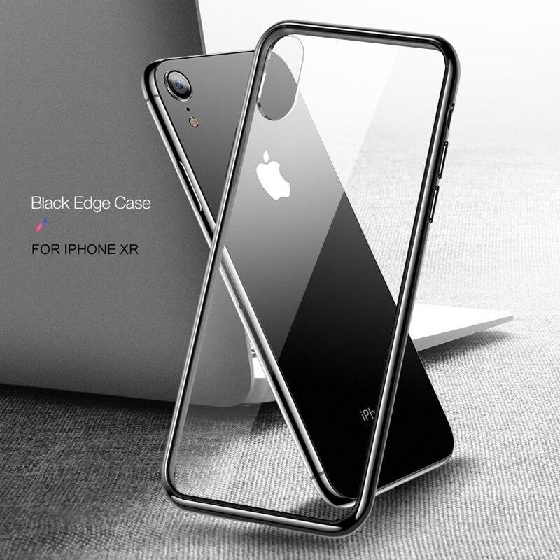 Cafele Case For Iphone X Xr Xs Max 7 8 Plus Soft Tpu Edge Tempered Glass Ultra Thin Transparent Glass Back Cover For Iphone X Xs