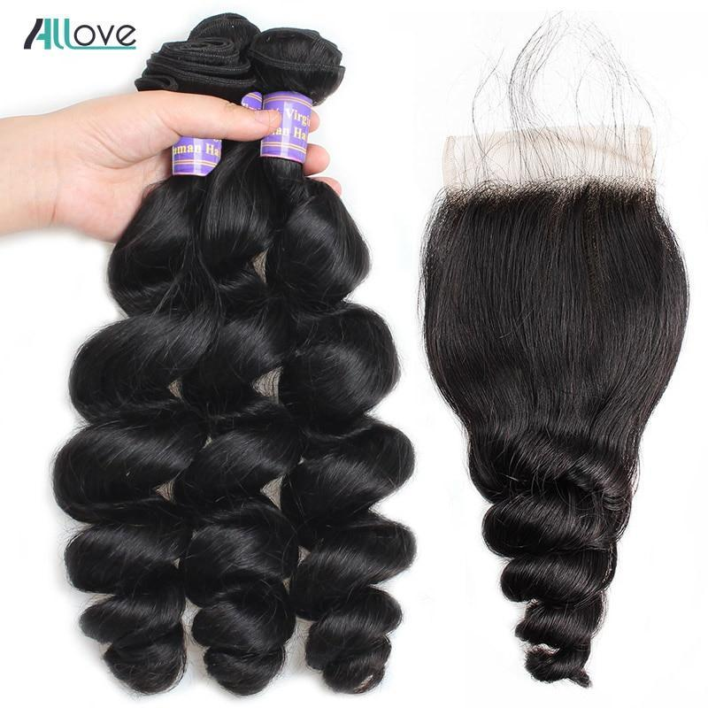 Allove Brazilian Loose Wave Bundles With Closure 100% Human Hair 2/3Bundles With 4X4 Lace Closure Middle Part Non Remy Hair Weft