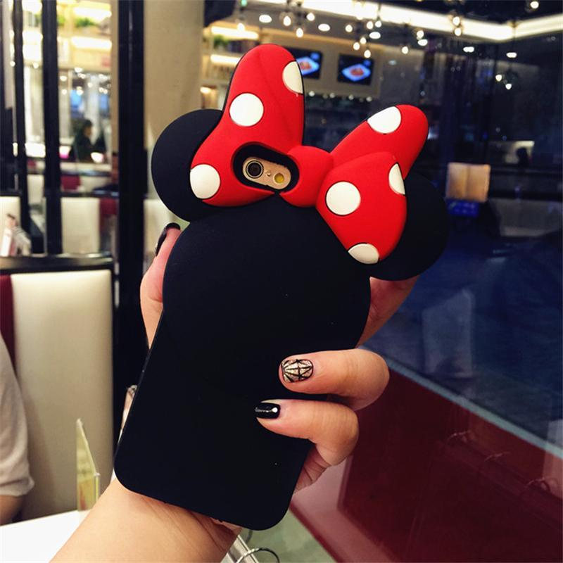 Cartoon Minnie Protective Case 3D Soft Silicone Back Cover For Iphone 6S 7 8 Plus X 10 Xs Xr Max Lovely Phone Bags