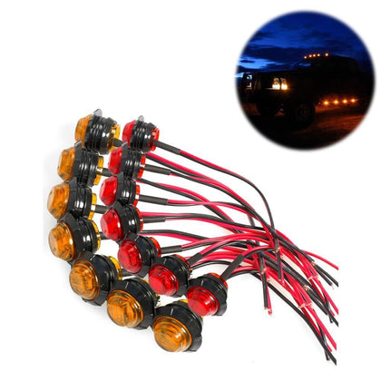 10 Pcs Waterproof Side Marker Indicators Light LED DC 12V Bullet Lamp Mini 3/4
