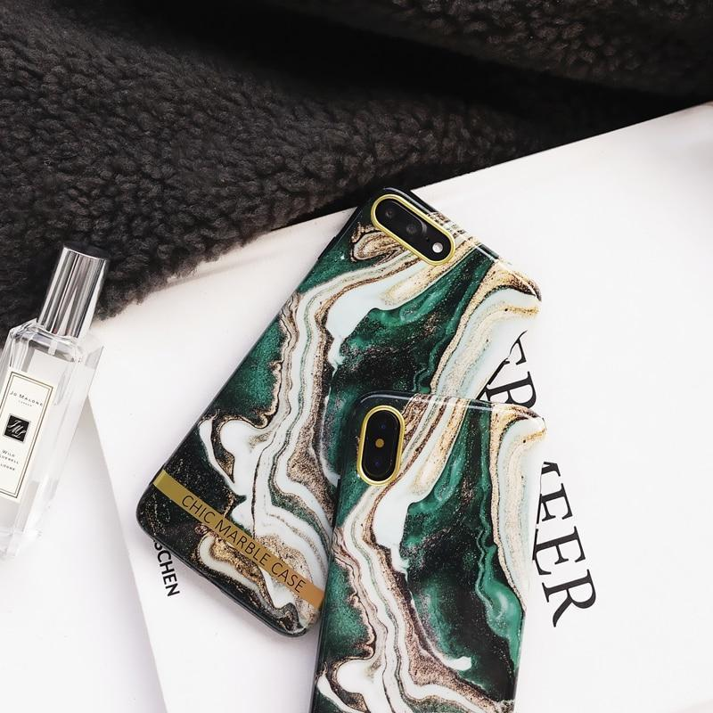 Ink Green Luxury Marble Case For Iphone X Xr Xs Max 7 8 Plus Soft Tpu Silicone Cover Cases For Iphone 8 7 6 6S Plus Back Capa
