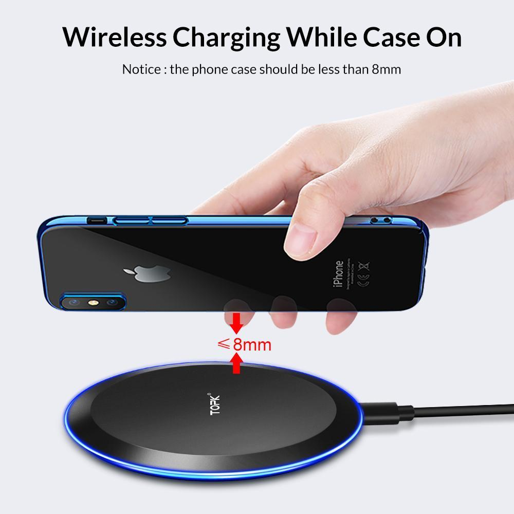 Topk B46W 10W Fast Wireless Charger For Samsung Galaxy S9/S9+ S8 Note 9 S7 Edge Wireless Charging Pad For Iphone X 8 Plus (Universal Black)