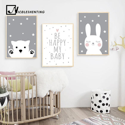 Baby Nursery Wall Art Canvas Poster Print Cartoon Rabbit Bear Painting Nordic Kids Decoration Picture Children Bedroom Decor